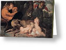 Romulus And Remus Greeting Card