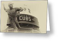 Ron Santo Chicago Cub Statue In Heirloom Finish Greeting Card