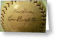 Ron Sievers And Lew Burdette Autograph Baseball Greeting Card