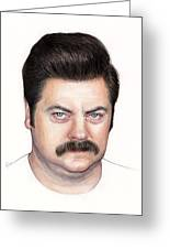 Ron Swanson Portrait Nick Offerman Greeting Card