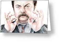 Ron Swanson Mustache Portrait Greeting Card