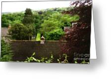 Roof Tops In Countryside Scenery With Trees - Peak District - England Greeting Card