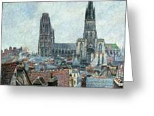 Roofs Of Old Rouen Grey Weather  Greeting Card