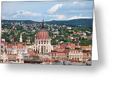Rooftop Of Parliament Building In Budapest Greeting Card