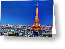 Rooftop View On The Eiffel Tower Greeting Card