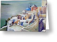 Rooftops And Terraces Of Santorini Island In Greece Greeting Card