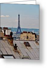 Rooftops Of Paris And Eiffel Tower Greeting Card