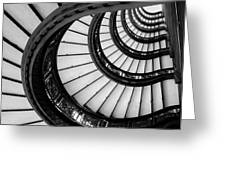 Rookery Building Looking Up The Oriel Staircase - Black And White Greeting Card