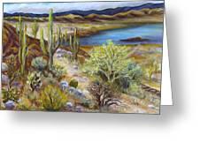 Roosevelt Lake Greeting Card by Caroline Owen-Doar