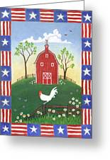 Rooster Americana Greeting Card by Linda Mears