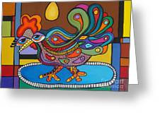 Rooster On A Platter Greeting Card by Deborah Glasgow
