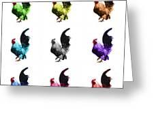 Rooster Pop Art- 4602 - Wb - M - Modern Animal Art Greeting Card