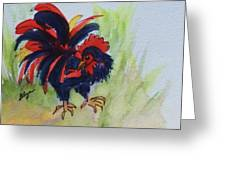 Rooster - Red And Black Rooster Greeting Card