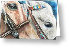 Roping Horses Greeting Card by Nadi Spencer