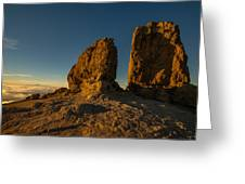 Roque Nublo Farther And Sun Monoliths At Sunset Greeting Card by Ben Spencer