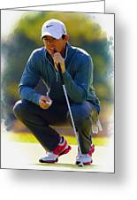 Rory Mcilroy  Lines Up A Birdie Putt  Greeting Card