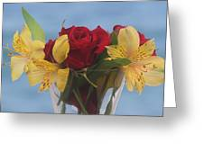 Rose And Peruvian Lilies Greeting Card