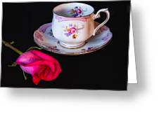 Rose And Tea Cup Greeting Card
