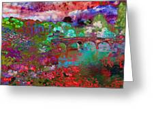 Rose Bridge Landscape Greeting Card