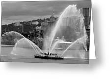 Rose Festival Fire Boat Greeting Card