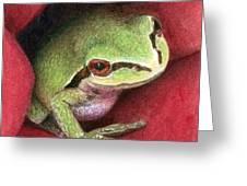 Rose Frog Greeting Card