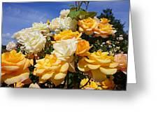 Rose Garden Art Prints Yellow Orange Rose Flowers Greeting Card