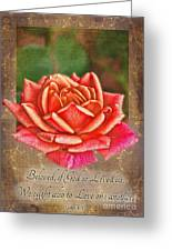 Rose Greeting Card With Verse Greeting Card
