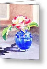 Rose In The Blue Vase  Greeting Card