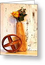 Rose Sphere And Mango Wood Vase Greeting Card