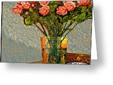 Roses And A Chinese Bowl Greeting Card