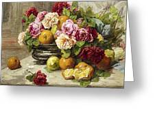 Roses And Fruit Greeting Card