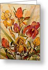 Roses And Irises Greeting Card
