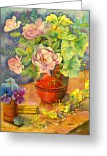 Roses And Pansies Greeting Card
