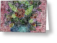 Roses And White Lilacs Digital Painting Greeting Card
