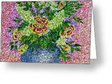 Roses And White Lilacs Lacy Bouquet Digital Painting Greeting Card