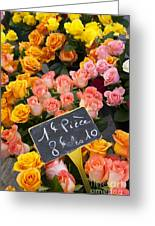 Roses At Flower Market Greeting Card