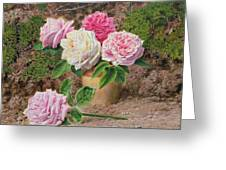 Roses In An Earthenware Vase By A Mossy Greeting Card