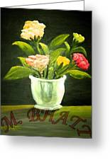 Roses In Marble Pot Greeting Card
