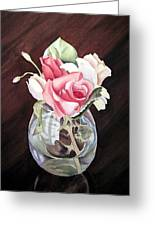 Roses In The Glass Vase Greeting Card