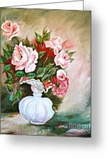 Roses In Vase Greeting Card