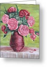 Roses In Vase Greeting Card