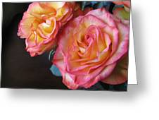 Roses On Dark Background Greeting Card