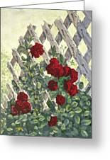 Roses On Lattice Greeting Card