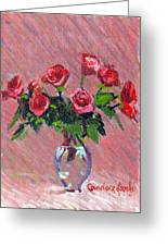 Roses On Pink Greeting Card