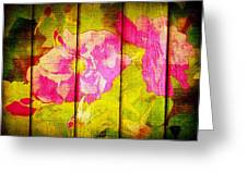 Roses On Wood Greeting Card