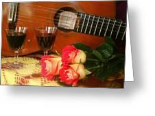 Guitar 'n Roses Greeting Card