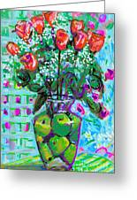 Roses With Apples Greeting Card