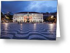 Rossio Square At Night In Lisbon Greeting Card