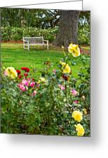 Rosy View - Beautiful Rose Garden Of The Huntington Library. Greeting Card