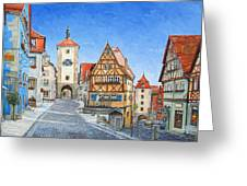 Rothenburg Germany Greeting Card by Mike Rabe